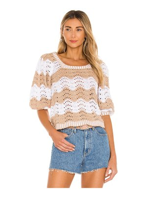 525 square neck wavy stripe top