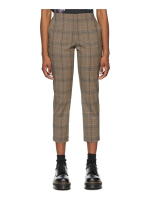 6397 brown check pull-on trousers