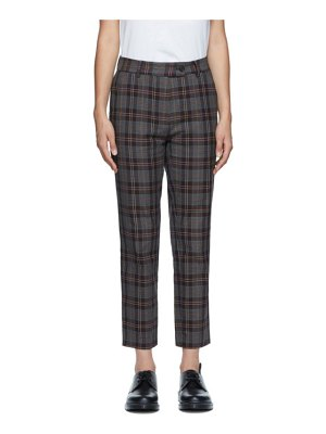 6397 purple check relaxed trousers