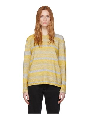 6397 yellow and grey cashmere spacedyed sweater