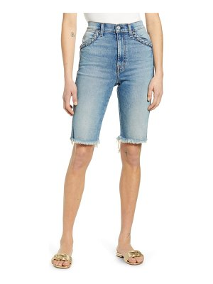 7 For All Mankind 7 for all mankind high waist cutouff denim bermuda shorts