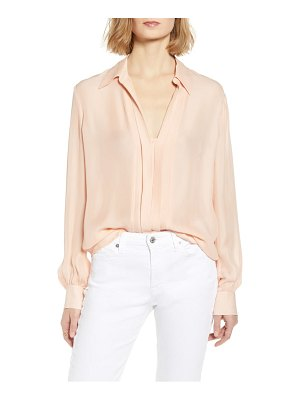 7 For All Mankind 7 for all mankind pleated placket silk blend shirt