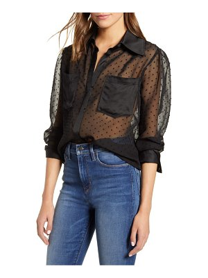7 For All Mankind 7 for all mankind sheer swiss dot shirt