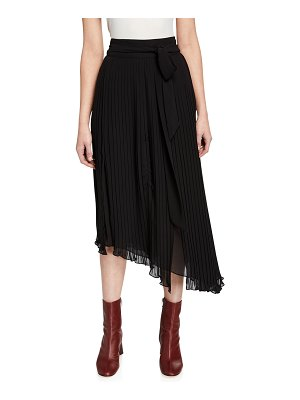 7 For All Mankind Asymmetric Plisse Maxi Skirt