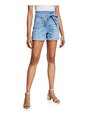 7 For All Mankind Belted Paperbag Waist Denim Shorts