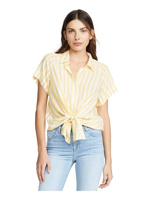 7 For All Mankind cap sleeve tie front top