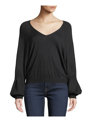 7 For All Mankind Cropped V-Neck Blouson-Sleeve Sweater