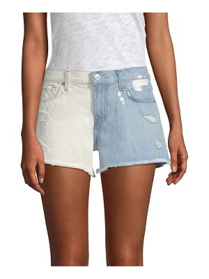 7 For All Mankind cut-off contrast rip shorts