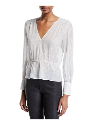 7 For All Mankind Deep V Metallic Peplum Top