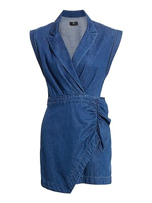 7 For All Mankind denim wrap mini dress