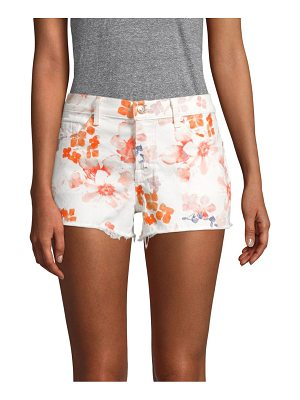 7 For All Mankind floral cut-off denim shorts