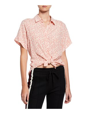 7 For All Mankind Floral-Print Short-Sleeve Silk Button-Front Shirt