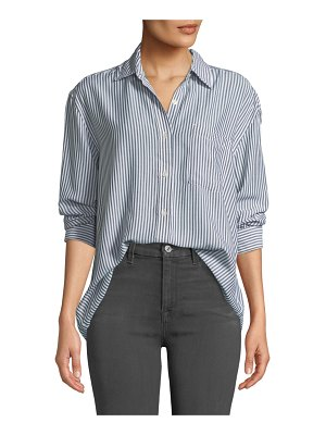 7 For All Mankind High-Low Tie Long-Sleeve Button-Front Striped Shirt