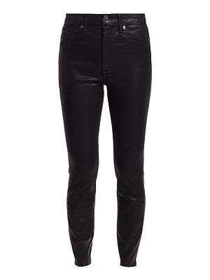 7 For All Mankind high-rise ankle skinny coated jeans