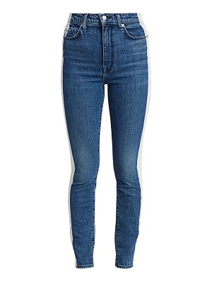 7 For All Mankind high-rise bleached side stripe ankle skinny jeans