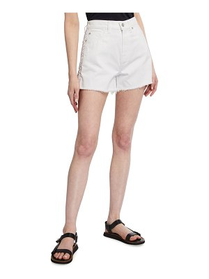 7 For All Mankind High-Rise Frayed Shorts w/ Lace-Up Sides