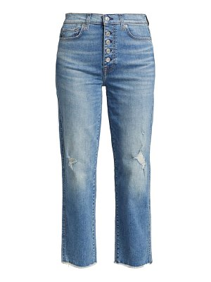 7 For All Mankind high-rise raw-edge cropped straight-leg jeans