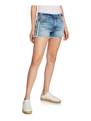 7 For All Mankind High-Rise Vintage Cutoff Shorts w/ Stripes