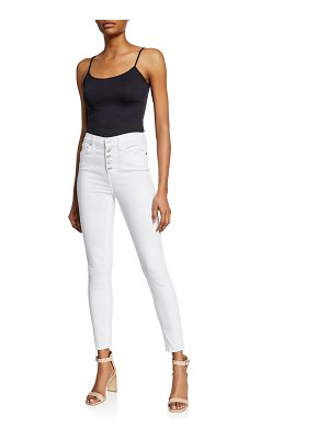 7 For All Mankind High-Waist Ankle Skinny Jeans w/ Button Fly