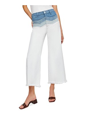 7 For All Mankind High-Waist Crop Flare Jeans with Chevron Panels