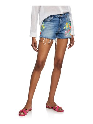 7 For All Mankind High-Waist Embroidered Shorts w/ Frayed Hem
