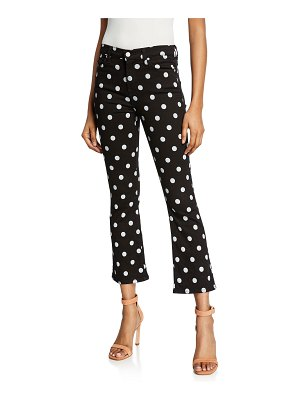 7 For All Mankind High-Waist Slim Kick Flare Polka-Dot Jeans