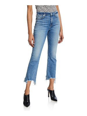 7 For All Mankind High-Waist Slim Kick Jeans with Destroyed Hem