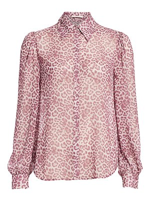 7 For All Mankind leopard puff-sleeve blouse