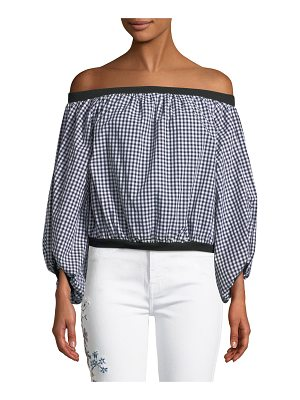 7 For All Mankind Off-the-Shoulder Gingham Blouson-Sleeve Top