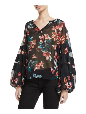 7 For All Mankind Paneled Floral Blouson-Sleeve Top
