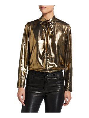7 For All Mankind Patch Pocket Metallic Button-Down Top