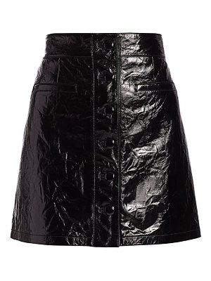7 For All Mankind patent leather button-front a-line skirt
