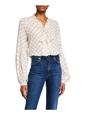 7 For All Mankind Printed Tie-Neck Blouson-Sleeve Top
