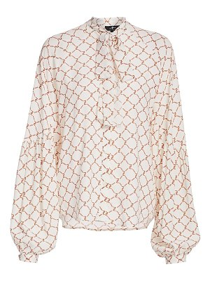 7 For All Mankind printed tieneck blouse