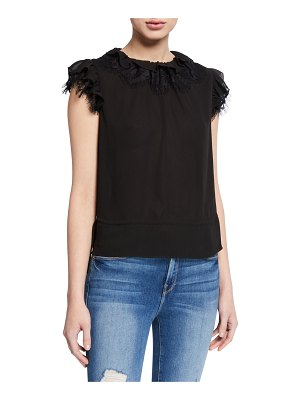 7 For All Mankind Ruffle-Neck Sleeveless Lace Top