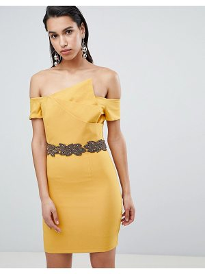 8th Sign the  asymmetric pencil dress with emebllished waistline