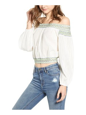 A LA PLAGE smocked off the shoulder top