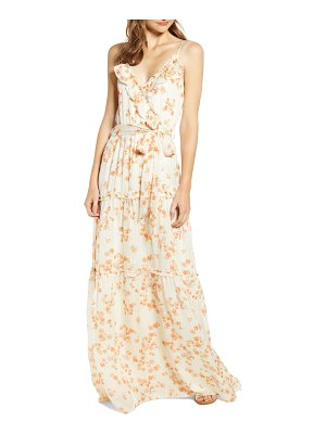 A LA PLAGE strappy floral tiered maxi dress