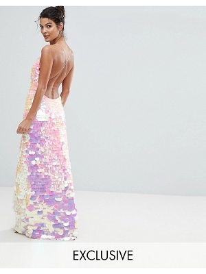 A Star Is Born Cami Strap Maxi Dress with Iridescent Overscale Sequins
