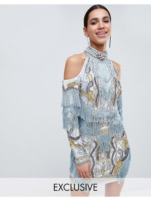 A Star Is Born cold shoulder embellished mini dress with tassel details