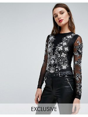 A Star Is Born Going Out Embellished Bodysuit with Embellishment and Embroidery