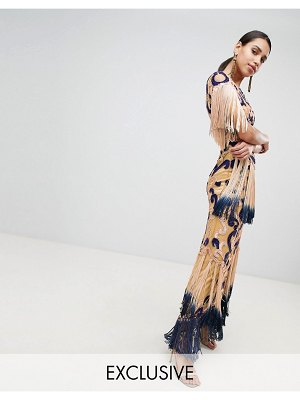 A Star Is Born embellished maxi gown with contrast embellishment and tassel detail