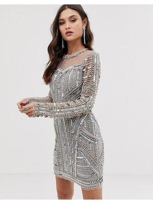 A Star Is Born embellished mini dress in silver
