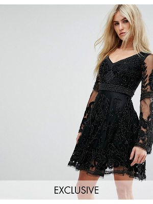 A Star Is Born Embellished Mini Skater Dress With Fluted Sleeve