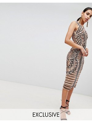 A Star Is Born Embellished Placement Midi Pencil Dress