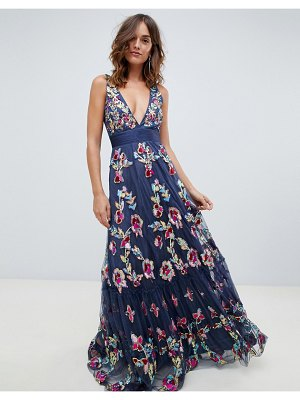 A Star Is Born embellished prom maxi dress with plunge front