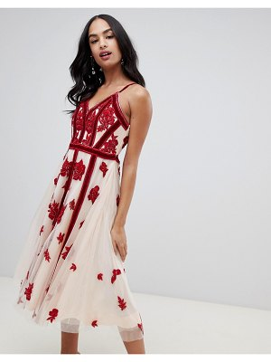 A Star Is Born embellished prom midi dress with plunge front