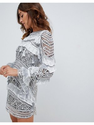 A Star Is Born fringe detail mini dress in allover silver embellishment