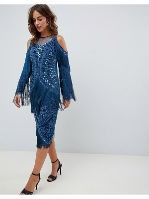 A Star Is Born fringed midi dress with embellishment