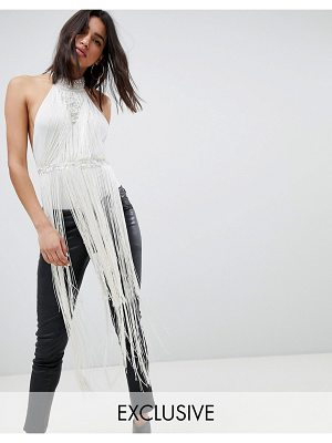 A Star Is Born going out high neck rope detail bodysuit with fringing